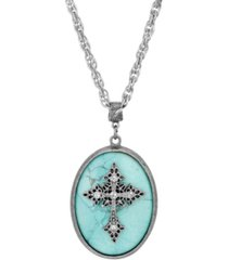 2028 silver-tone turquoise semi precious oval stone crystal cross necklace