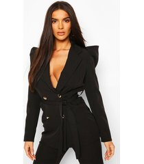 puff shoulder double breasted tailored blazer, black