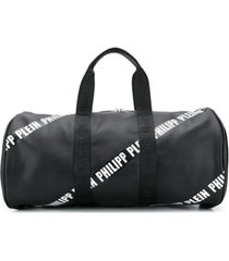 philipp plein junior bolsa tote com logo e listra - preto