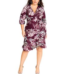 city chic trendy plus size winter lily printed faux-wrap dress