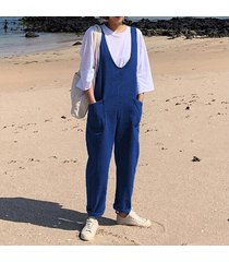 zanzea mujeres sin mangas denim blue bib cargo pants dungraee jumpsuit romper overol -azul oscuro