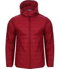 chaqueta acolchada con capota hombre color rojo, talla l
