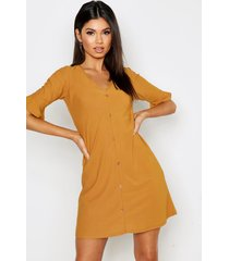 button detail frill sleeve shift dress, mustard