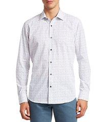 collection diamond print cotton plaid sport shirt