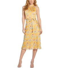 adrianna papell printed belted-waist dress