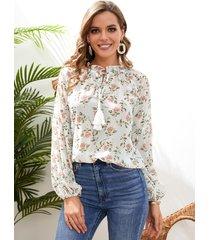 yoins con lazo con estampado floral al azar diseño detalles de borlas blusa de manga larga