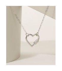colar feminino folheado corrente com coração mosquetão prateado