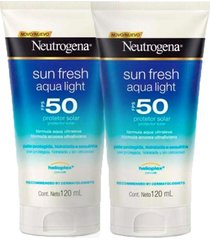 kit 2 protetor solar neutrogena sun fresh aqua light fps 50 120ml