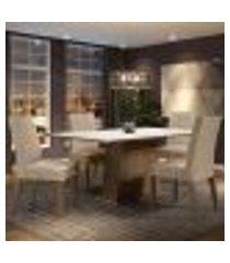 conjunto sala de jantar madesa flavia mesa tampo de madeira com 4 cadeiras - rustic/branco/imperial