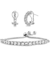 sterling silver cz huggie tennis bracelet set (50% off) - comparable value $79.99
