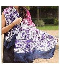 silk batik shawl, 'ocean hyacinth' (thailand)