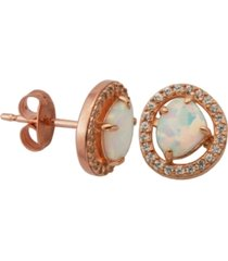 18k rose gold over sterling silver with lab created opal and cubic zirconia stud earrings