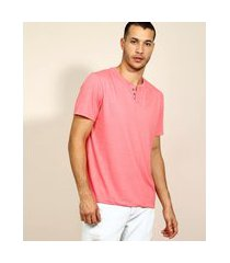 camiseta masculina básica manga curta gola portuguesa coral