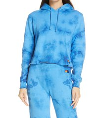 women's aviator nation tie dye crop hoodie, size medium - blue