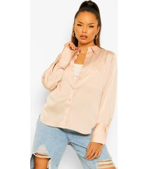 oversized satin blouse, champagne