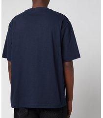 acne studios men's embroidered logo t-shirt - navy - xl