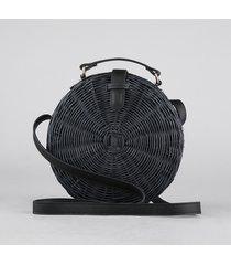 bolsa feminina de palha redonda média transversal preta