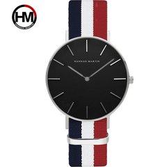 reloj de correa de nylon de los hombres de la cara-blanco