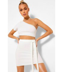 contrast stitch crop top and belt mini skirt co-ord, ivory