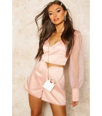 organza blouson sleeve satin crop top, pale pink