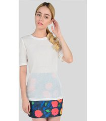 blusa manga corta de mujer aishop aw163-1102-001 blanco