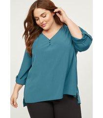 lane bryant women's 3 button popover soft shirt 24 teal