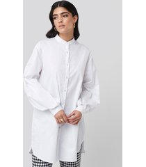 na-kd classic oversized cotton shirt dress - white