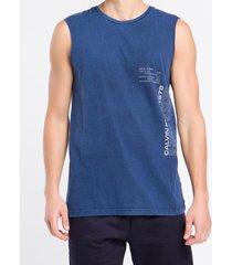 camiseta regata masculina summer azul médio calvin klein jeans - pp