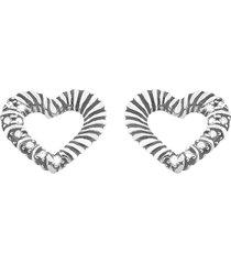 orecchini cuore in argento 925 rodiato e zirconi per donna