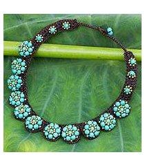 beaded flower necklace, 'daisy melody' (thailand)