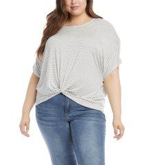 plus size women's karen kane stripe twist front t-shirt, size 1x - white