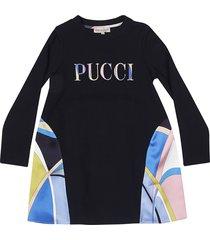 emilio pucci embroidered logo dress