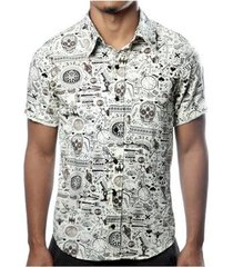 camisa camaleão urbano caveira exótica vintage masculina - masculino