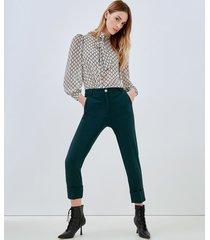 motivi pantaloni a sigaretta con risvolto donna verde