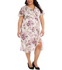 r & m richards plus size side-ruched dress