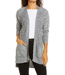 petite women's caslon linen blend open front cardigan, size small p - black