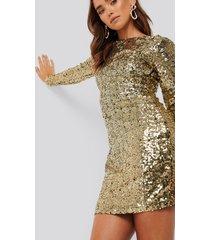 na-kd party sequin long sleeve dress - gold
