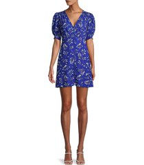 french connection women's shirred tropical leaf-print mini dress - blue - size 6