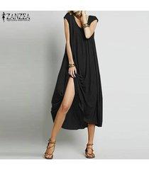 zanzea vendimia verano de las mujeres largas flojas tapas de la camisa holgada túnica del vestido maxi de boho -negro