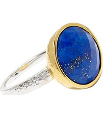 24k yellow goldplated sterling silver & lapis ring