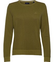 cotton pique c-neck sweat-shirt trui groen gant
