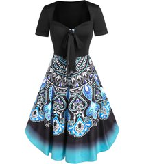 bohemian printed ombre bowknot a line dress