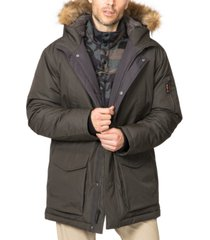 hawke & co. outfitter men's big & tall long snorkel parka with faux fur hood