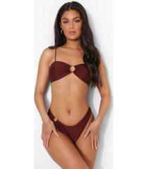 strapless bikini top met o-ring detail en strikjes, chocolate