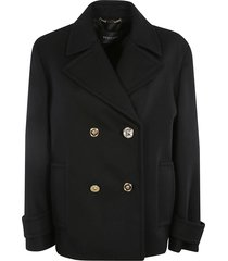 crystal medusa-button double-breasted peacoat