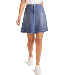 women's nydj raw release hem a-line denim skirt, size 00 - blue
