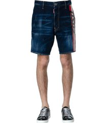 dsquared2 blue denim striped logo shorts