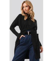na-kd chunky knit long cardigan - black