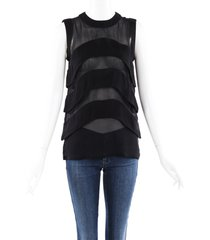 givenchy silk tiered blouse black sz: m