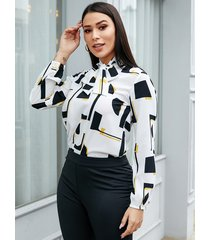 yoins blusa de manga larga con cuello redondo geométrico blanco cuello